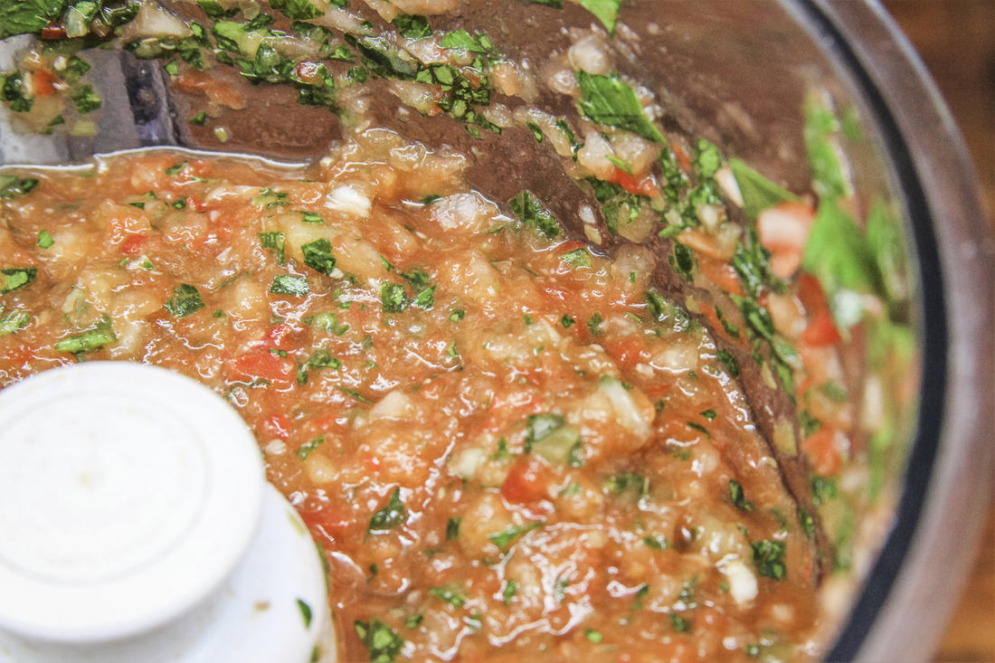 Blend the sofrito ingredients in the food processor.