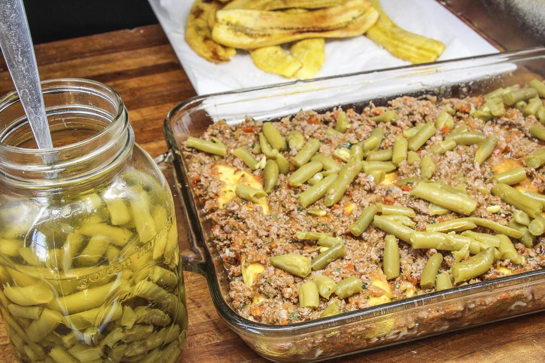 The dish often contains green beans, so we used home-canned from this year's garden.