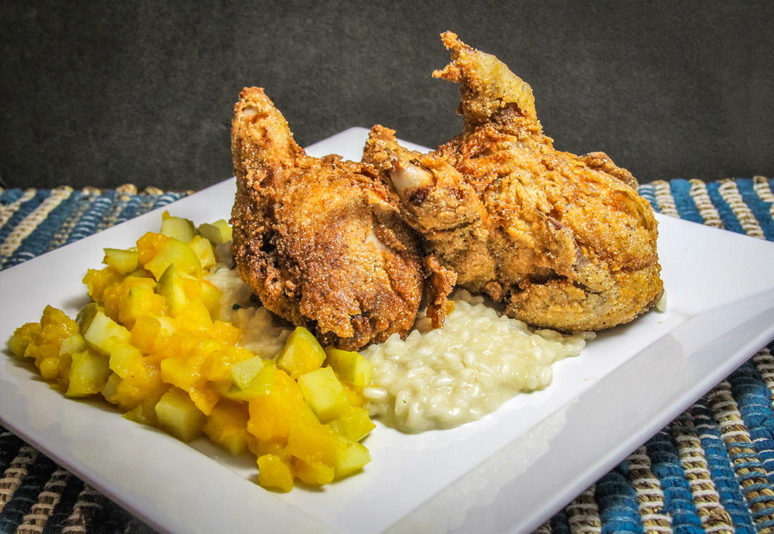 We like to serve the quail over a bed of creamy risotto with a blend of sauteed apples and butternut squash.