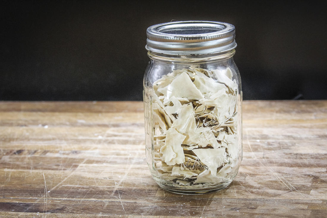 Store your dried starter in a lidded jar.