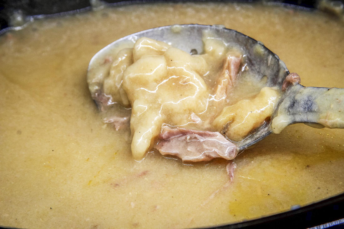 The broth thickens into a rich gravy as it cooks.