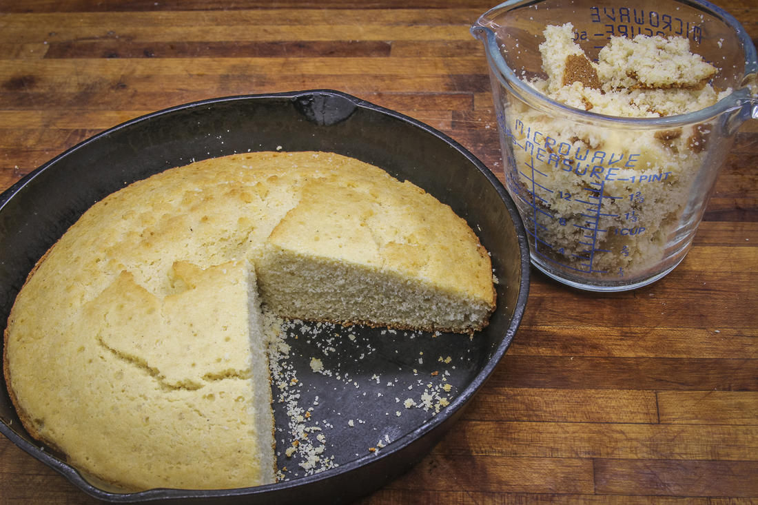 Bake a pone of cornbread in a cast-iron skillet for the stuffing.