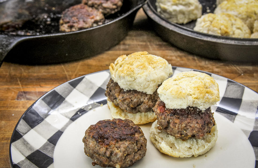 Our favorite way to enjoy wild turkey sausage is stuffed into a homemade biscuit.