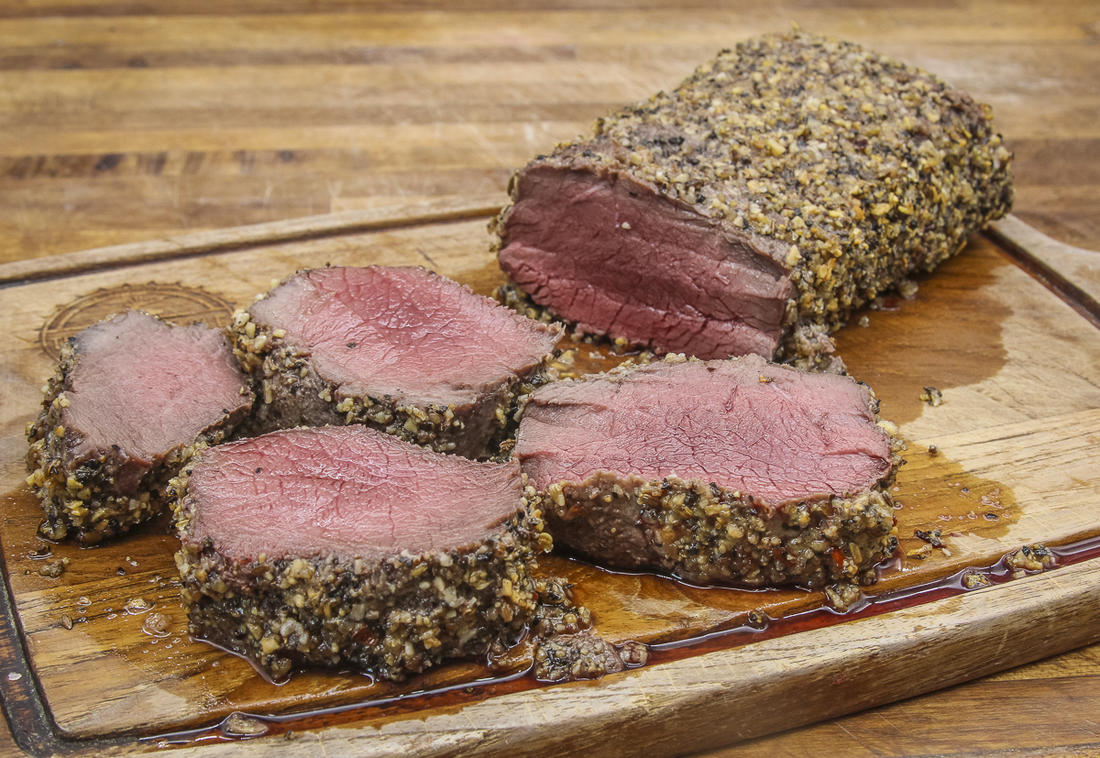 The mayo mixes with the steak seasoning as the backstrap grills to form a deeply flavorful crust.