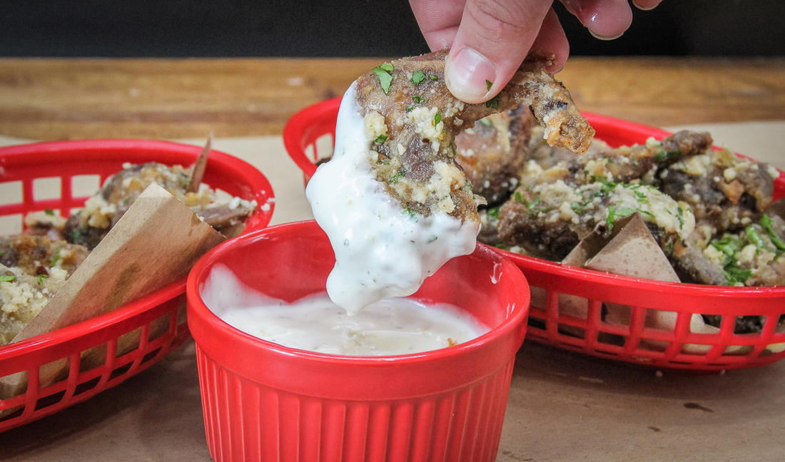 Dunk the squirrel in your favorite wing dip.