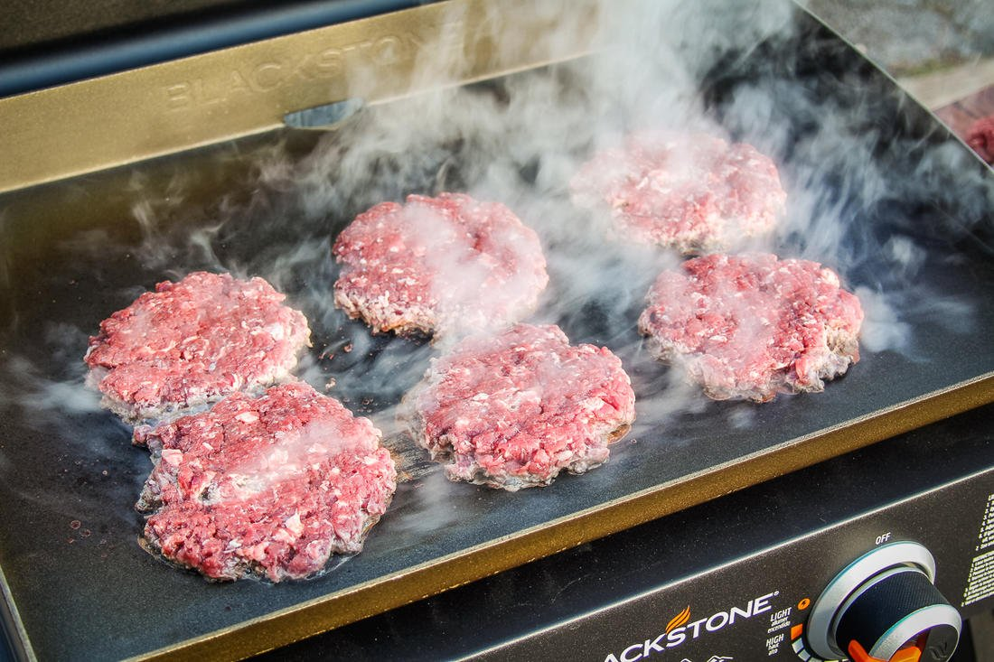 Sear the burgers on a griddle or cast-iron skillet.