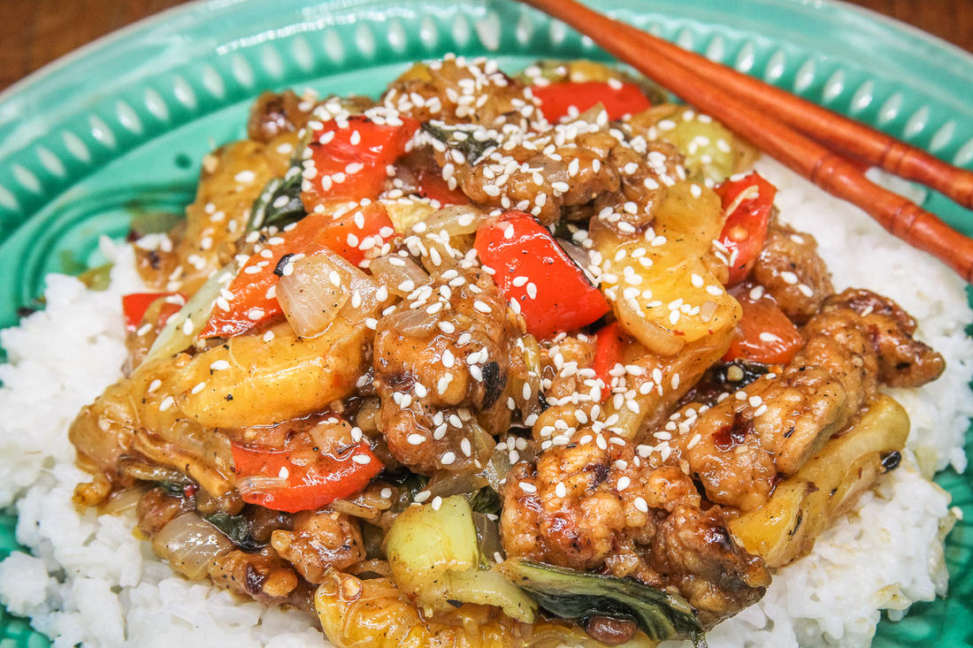 Crispy fried pheasant shines in this vegetable and citrus stir-fry.
