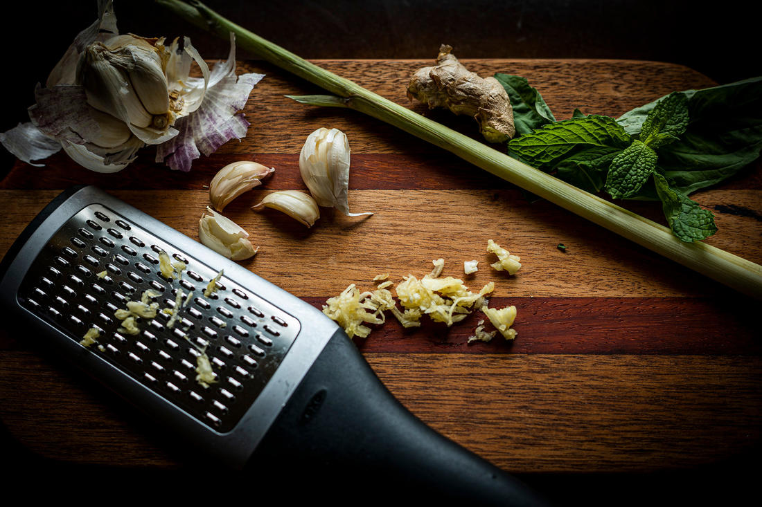 Grate the ginger and garlic. Image by Grit Media