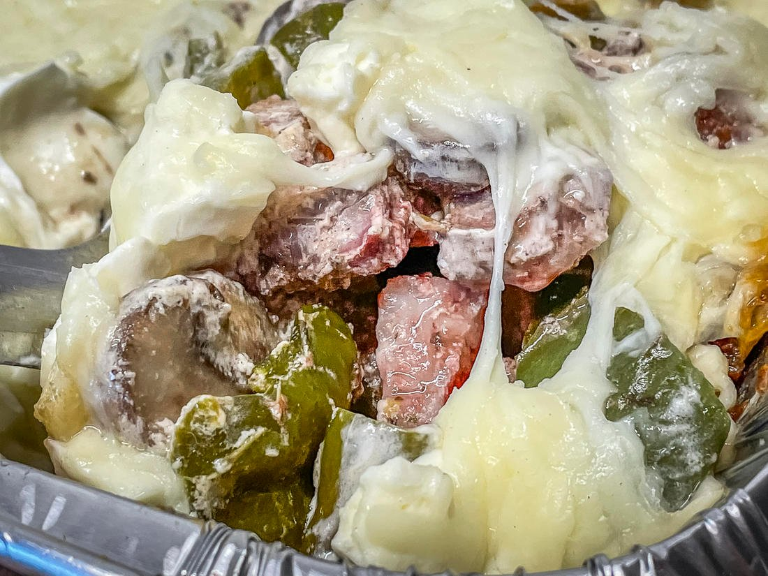 The casserole has all the flavors of a traditional dove popper along with smoky melted cheese.