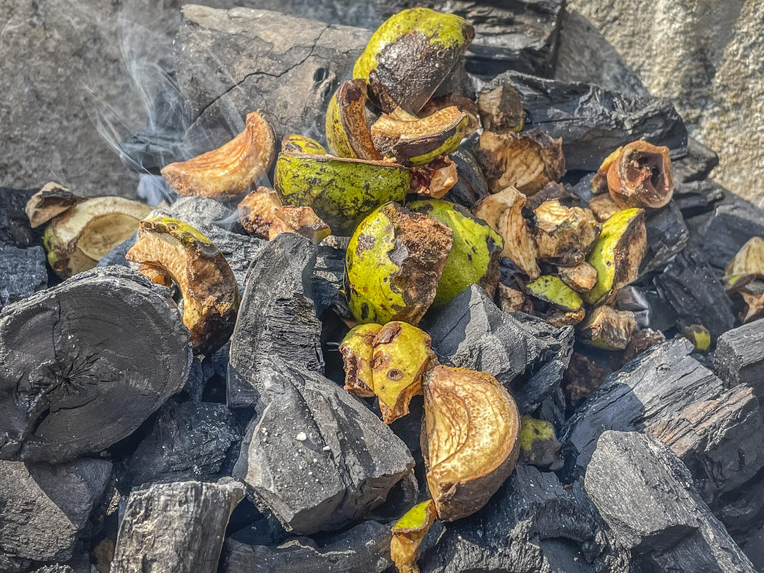 Toss the cuttings directly on the coals so that they smolder and smoke.