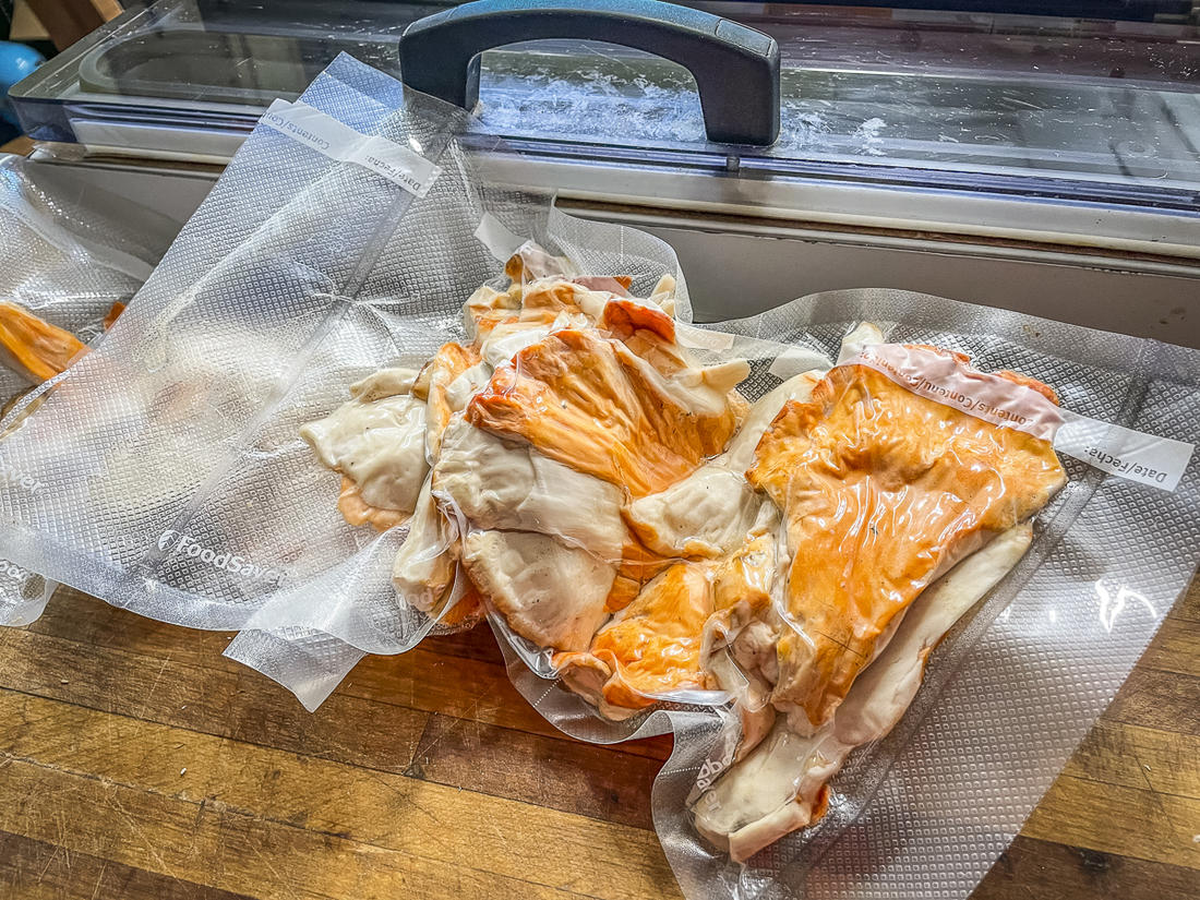 Vacuum sealing and freezing is the most effective way to store chicken of the woods for later use.