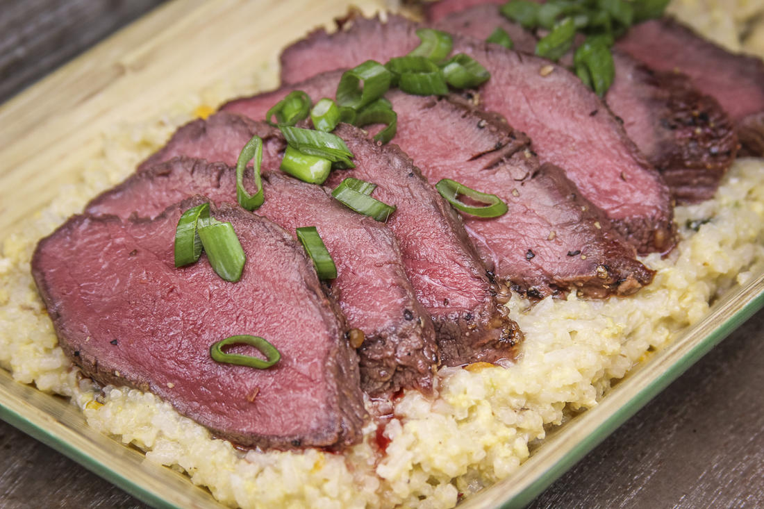 Slice the backstrap and serve with rice or vegetables.
