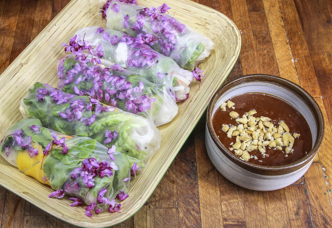 Serve the rolls with peanut dipping sauce.