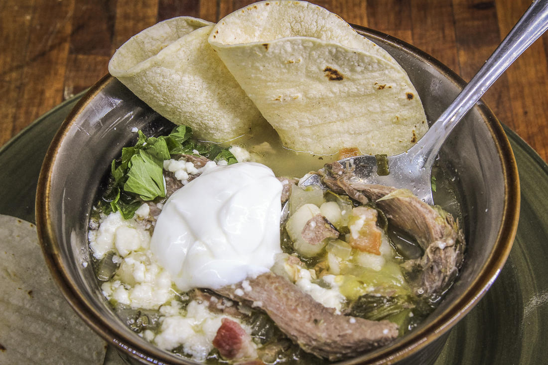 The slow-simmered wild turkey meat pairs nicely with the bright flavors from tomatillos.