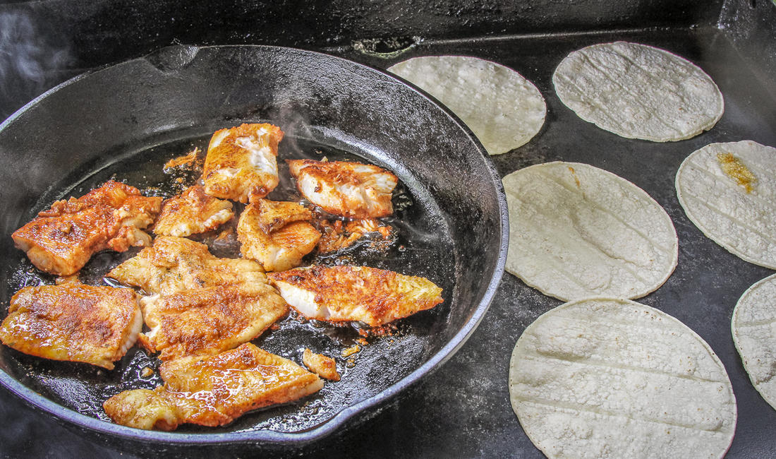 Blackening fish makes some smoke so we like to do it outside when possible.