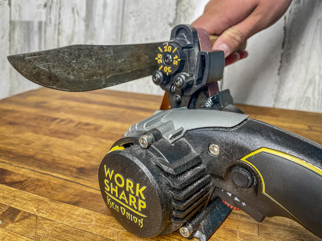 An adjustable belt sharpener allows you to adjust sharpening angles for each knife's intended purpose.
