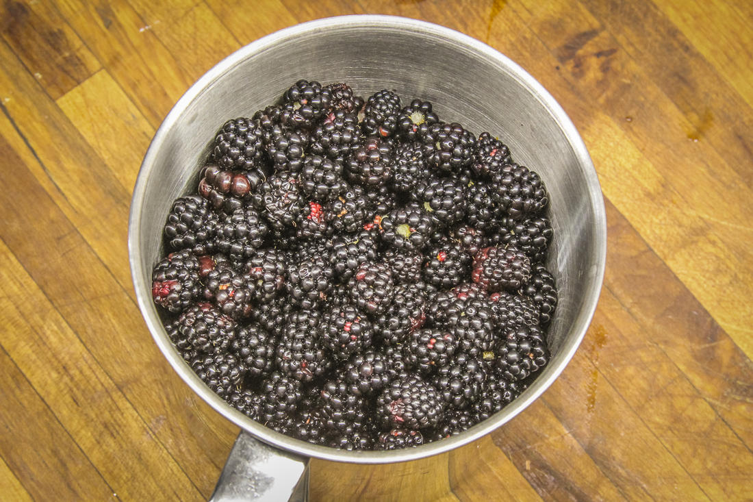 It doesn't take long to pick enough blackberries for this dish.