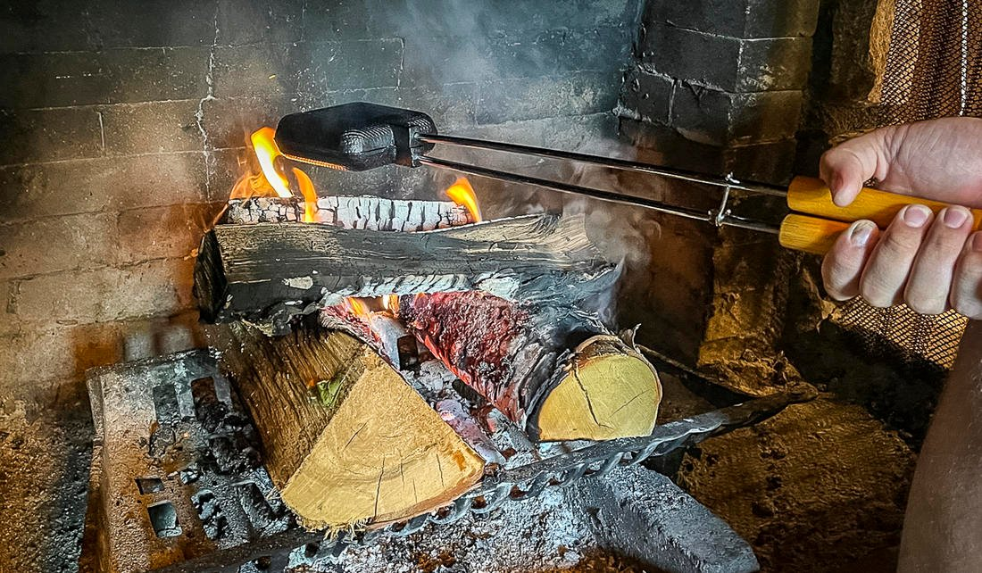 Hold the pies over an open fire, rotating occasionally, for 15 to 20 minutes or until the pies are cooked through.