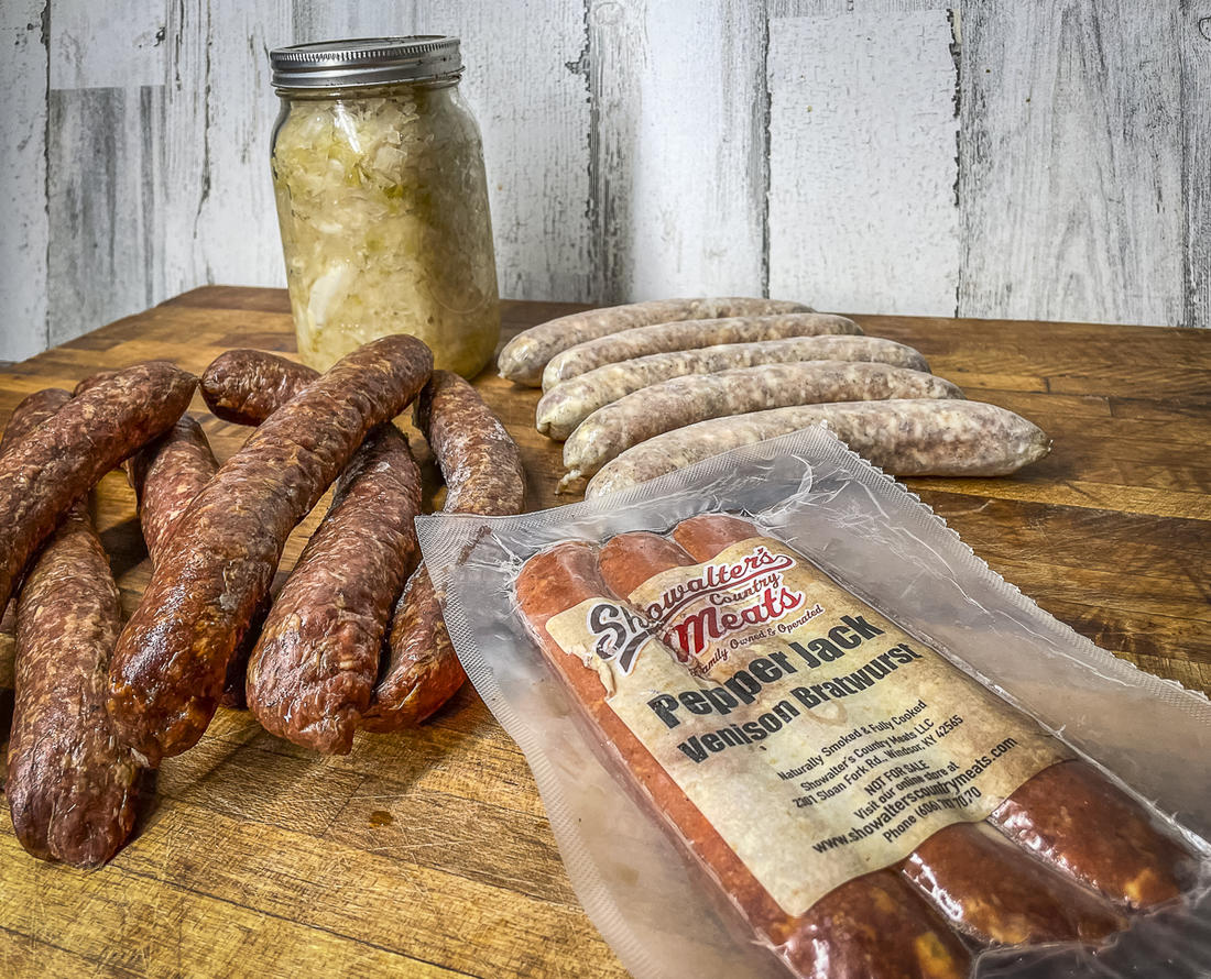 Pick any venison sausage you like, either homemade or from a processor.