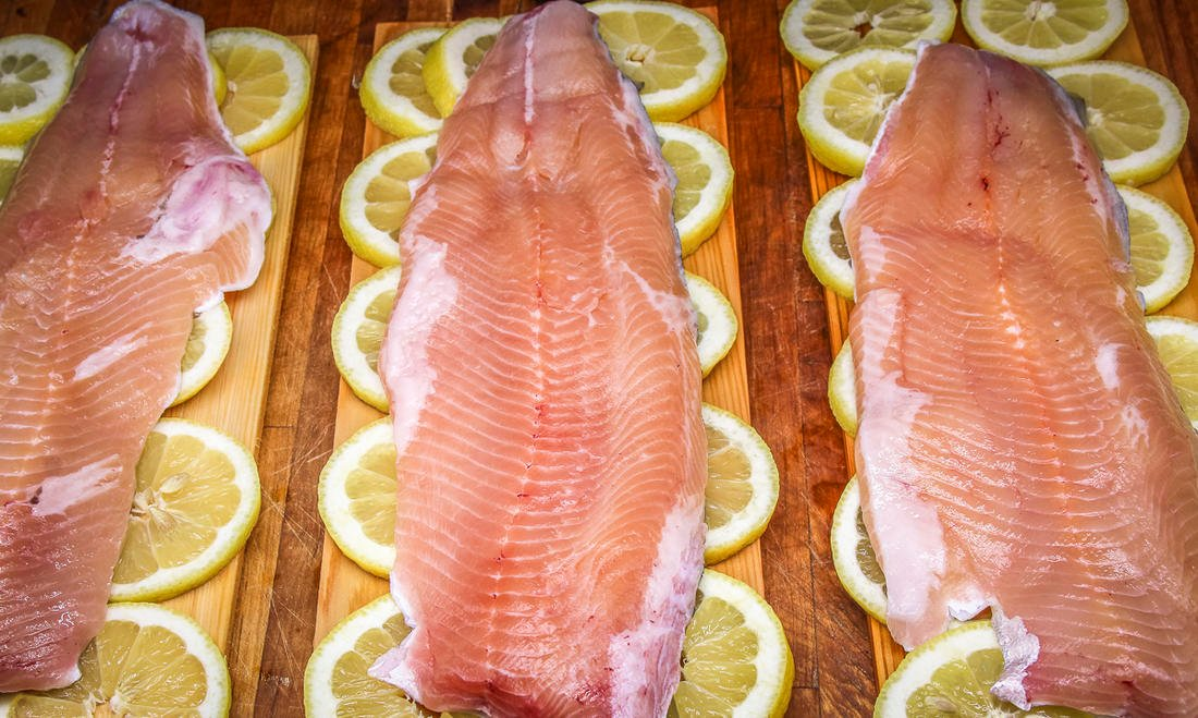 Line a cedar grill plank with lemon slices, then place one fillet on each board.
