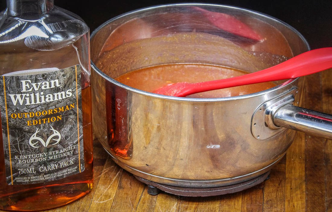 Realtree Evan Williams Outdoorsman Edition bourbon is the perfect addition to this sauce.