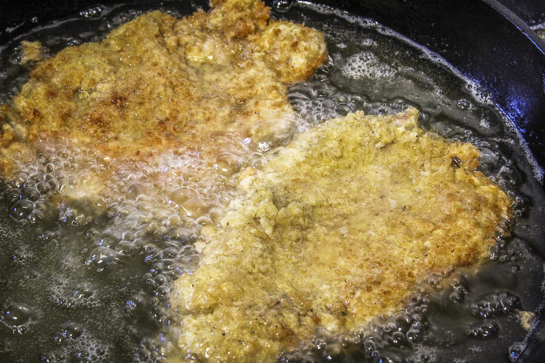 Fry the turkey to a crisp golden brown and just cooked through.
