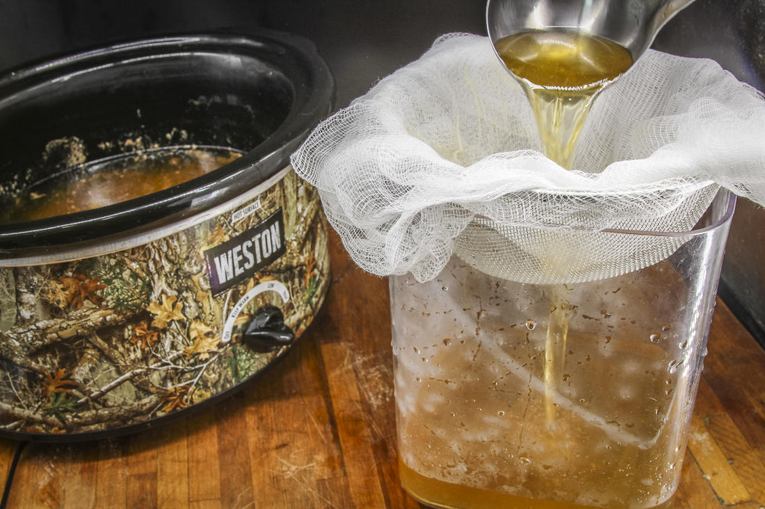 Filter the stock through a cheesecloth-lined wire strainer.