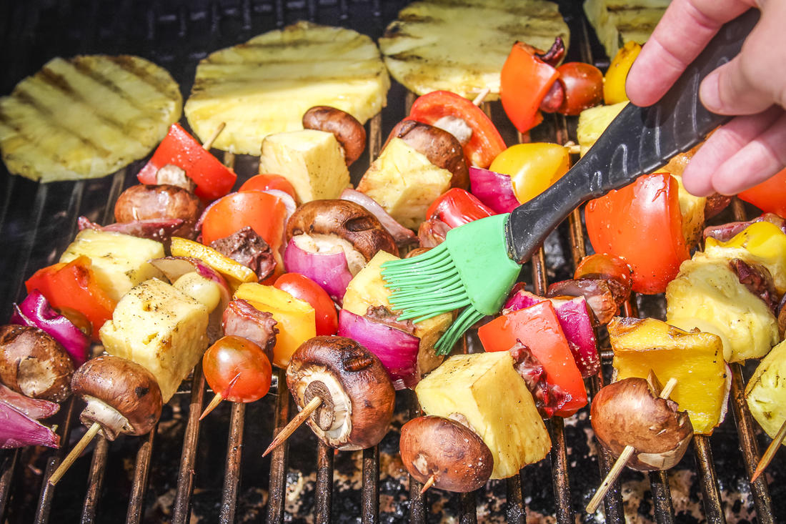 Baste the skewers often as they grill.