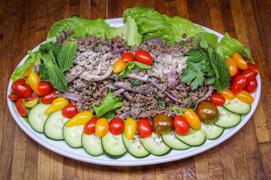 You can serve the larb as individual salads, lettuce wraps, or as a large salad for the table.