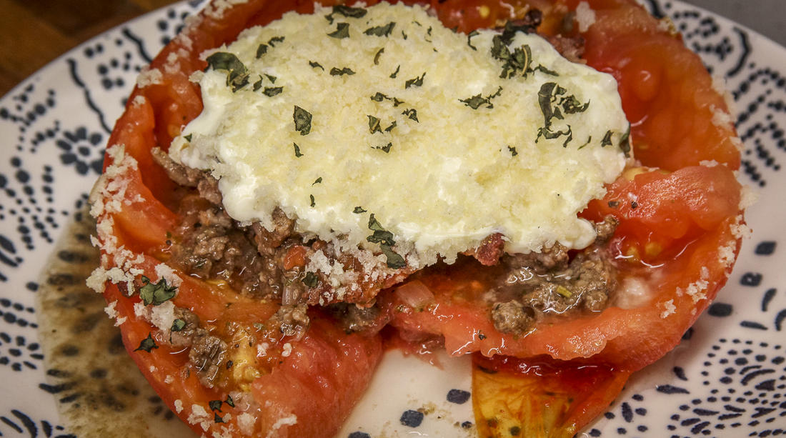 These stuffed tomatoes make a perfect meal for a summer evening.