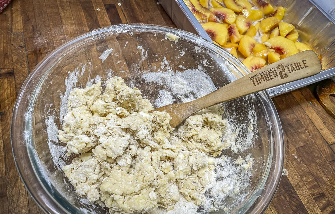 Mix the crumbled topping ingredients.