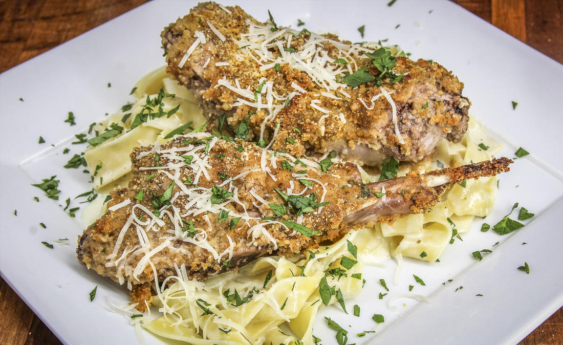 Serve the crispy rabbit over your favorite pasta to make it a meal.