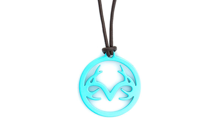 Titanium Buzz Women's Leather Necklace with Aqua Stainless-Steel Realtree Logo Preview Image