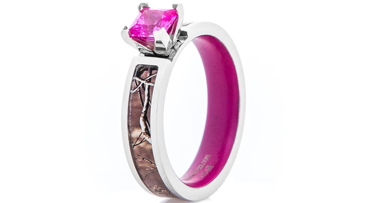Women's Realtree Camo Engagement Ring with Pink Sapphire and Matching Interior Preview Image