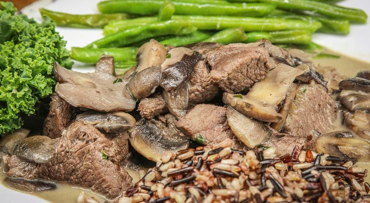 Mother's Day Venison Backstrap Steak Tips With Red Wine Mushroom Sauce Preview Image