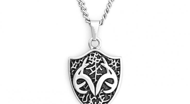 Men's Stainless-Steel Necklace with Realtree Shield Pendant by Titanium Buzz Preview Image