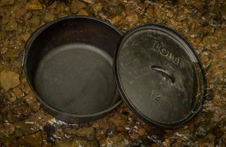Every camp kitchen should include a 12-inch Dutch oven with legs for the camp fire. Photo B. Konway