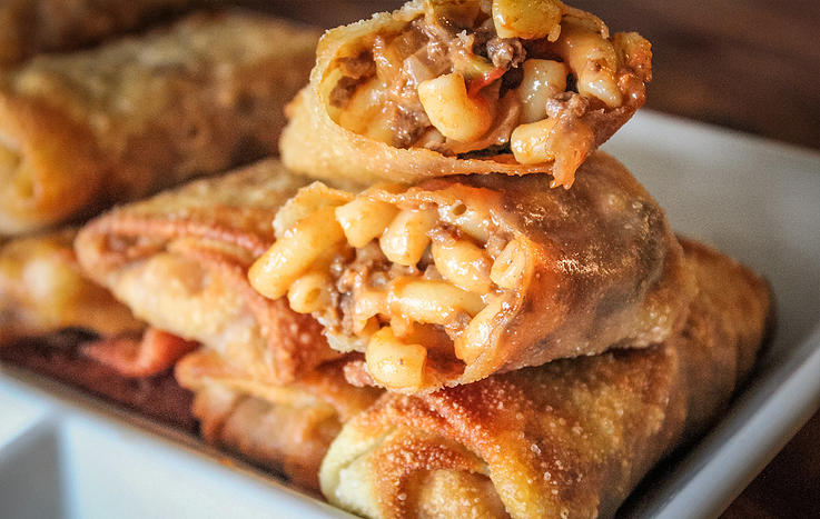 Venison Cheesy Mac Egg Rolls