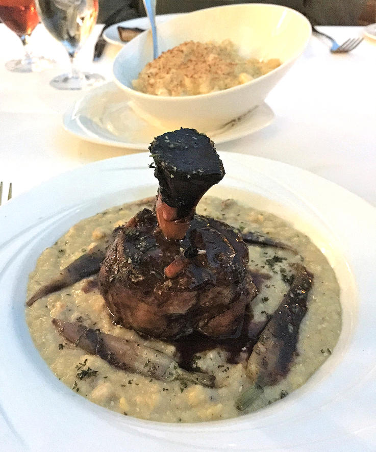 Try the pork shanks braised in duck fat at the Old Hickory Steakhouse at Opryland Hotel.