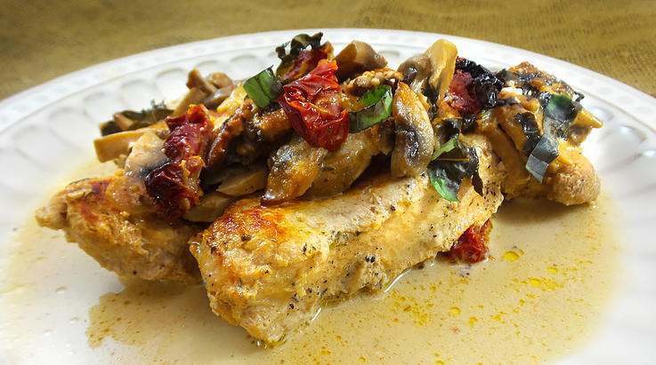 Wild Turkey with Sun-Dried Tomatoes and Mushrooms in Cream Sauce