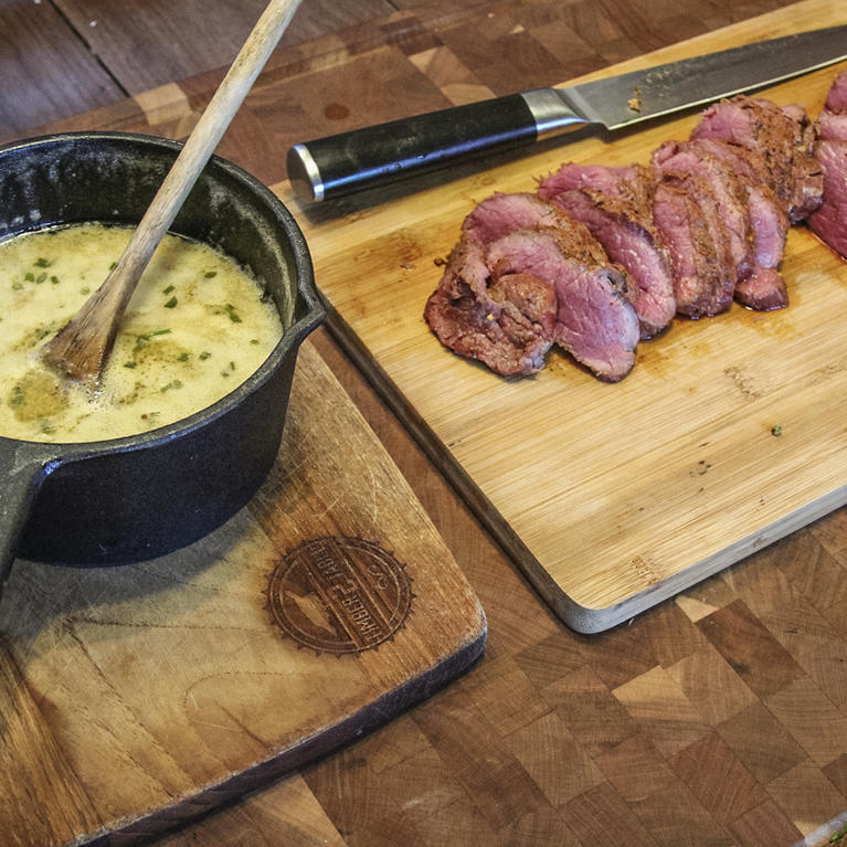 Grilled Venison Backstrap with Chili Lime Butter Dipping Sauce Recipe
